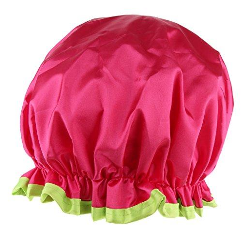 MagiDeal Imperméable Bonnet de Bain de Maquillage de Douche Cheveux Couverture Chapeau à Double Couches pour Femmes - Rose rouge