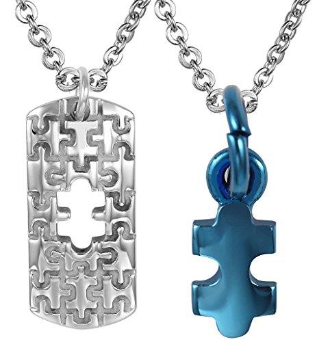 AMDXD Schmuck 1 Paare Puzzle Partnerkette aus Hochglanz Edelstahl Anhänger Halskette