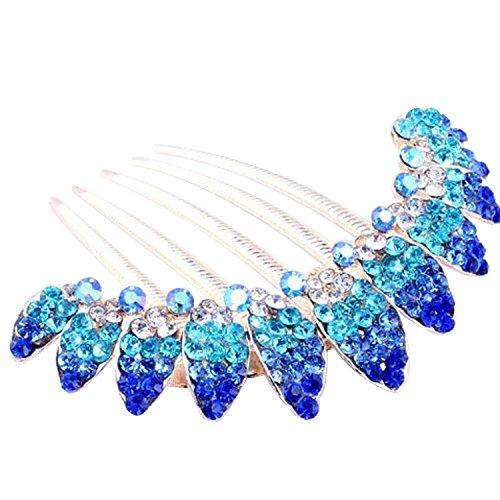 Vococal® Fashion Strass Fleur Design Pinces à Cheveux Hair Pin Peigne Barettes Cheveux Femmes Lady Accessoire Bleu