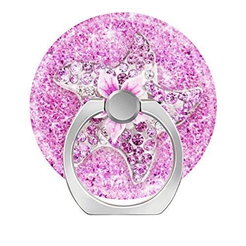 (zoyaley-Phone Finger Ring Halter Ständer für Smartphone Tablet und Handy Auto Mount-Cute Seestern Blume Glitzer Rosa Diamend)