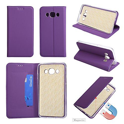 Samsung Galaxy J5 2016 / J510 Hülle Leder Ultra Dünn, Lomogo Schutzhülle Brieftasche mit Kartenfach Klappbar Magnetverschluss Stoßfest Kratzfest Handyhülle Case für Samsung Galaxy J5 (2016) - HOHA23901 Violett