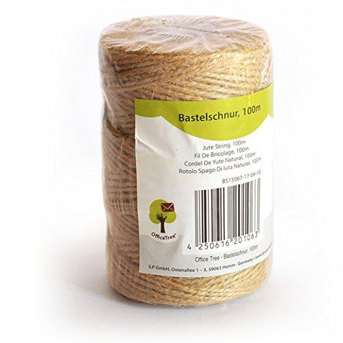 OfficeTree ® Bastel-Schnur - 100 m Rolle - Jute-Kordel - hochwertiges Natur-Produkt für Haushalt Garten Kunsthandwerk Dekoration - (1 Rolle)
