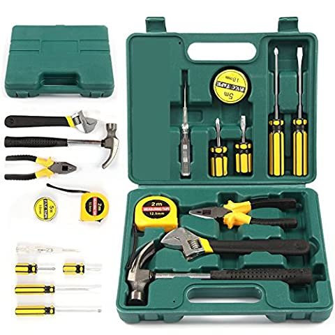 Tech Professional 12 Pcs Basic Hand Carry Tool Box Kit Fix Repair Home Professional Maintenance On Around Your Home Pieces Mixed Household Set Brand New