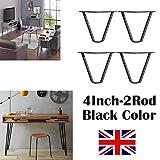 2018 Nuevo diseño 4 pulgadas (10 cm) horquilla mesa patas estable estándar altura de la mesa 3 varilla 10 mm acero, negro