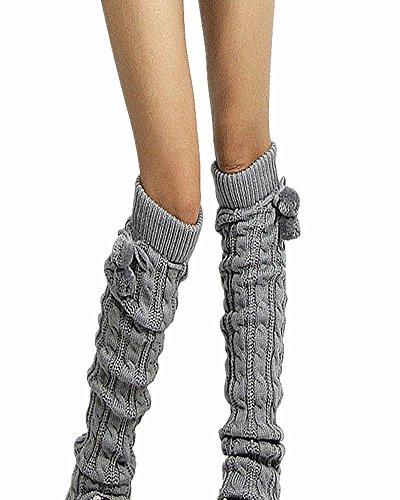 SAMGU dick gestrickte Socken Soft-Bein-Wärmer lange am Knie Hohe Strümpfe Strumpf Farbe Hellgrau (Gestrickte Bein-wärmer)