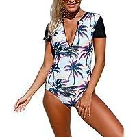 Aleumdr Mujer Trajes de Baño Floral Bañador Deportivo Ropa de Baño con Relleno Azul-Negro