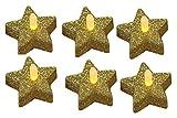 Fachhandel Plus 6er Set Teelichter 'Stern' Glitzer Gold, Weihnachtsdekoration, inkl. Batterien