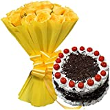Sattva Flower Boutique A Lovely Combo Of 12 Yellow Roses Paired with The Goodness Of Half Kg Black Forest Cake