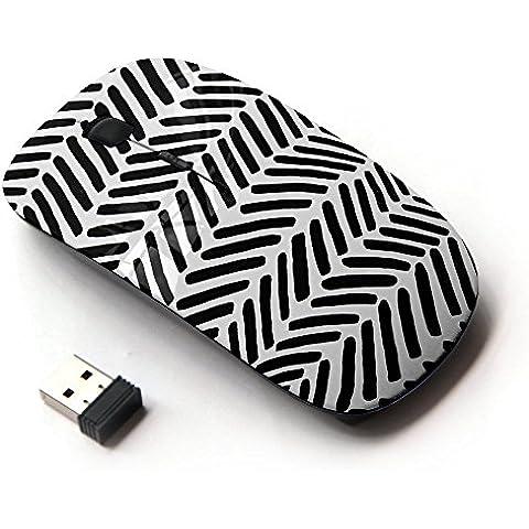 KOOLmouse [ Mouse Senza Fili Ottico 2.4G ] [ Native Pattern Black White Stripes Wallpaper (Wallpaper Piccolo Stripe Wallpaper)