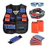 Towinle Taktische Weste, Dschungel Tarnung Taktische Weste Jacke Kit für Nerf N-Strike Elite Battle mit Darts Schutzbrille Nahtlose Maske Reload Clip und Handgelenk Band