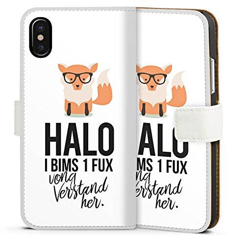 Apple iPhone 7 Hülle Case Handyhülle Fuchs Spruch I bims 1 Fux Sideflip Tasche weiß