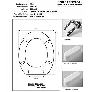 Cesame SIMPLEX White Toilet Seat Hinge-Chrome-Seat Toilet Seat