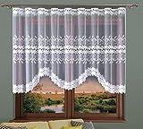 Weiß, kurz Bogenstore,Gardine, Vorhang aus hochwertigem Jacquard mit Blättern Muster und Spitzenbesatz/648107, 330cm x 140cm