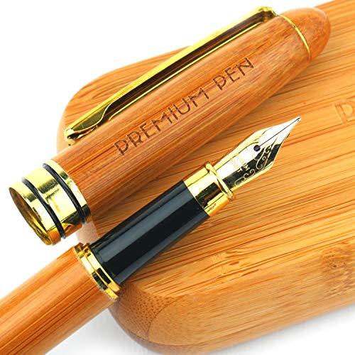 Handgefertigter Bambusfüller für Linkshänder und Rechtshänder mit Geschenkbox aus Bambus - Nachfüllbar durch Tintenkonverter und Tintenpatronen - Ideal für Kaligraphie und Schönschrift