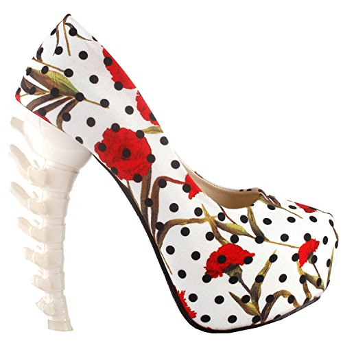 hen Hochhackigen Plattform Knochen Heels Schuhe, LF80610JW38, 38EU, Weiß Blumen - Polka Dots ()