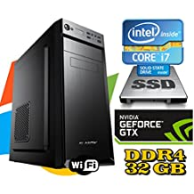 PC DESKTOP FISSO Intel i7-7700 4.2GHZ / SCHEDA VIDEO GTX1050 2GB/ RAM DDR4 32GB/ SSD250GB + HD 1TB / WIFI - windows 7/10