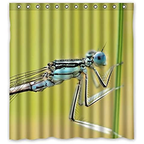 Macro de una libélula azul 100% poliéster anti-moho/resistente al agua Custom Generic cortina de ducha 167cm x183cm (66