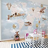 BIZHIGE Weltkarte Flugzeug Feuer Ballon 3D Cartoon Tapete Wandbild 3D Wand Foto Wandbild Für Kinder Baby Zimmer 3D Wandbild Wandtapete,300 X 250Cm (9.8X8.2 Ft) - Can Be Customized