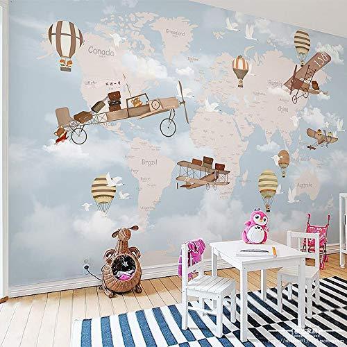BIZHIGE Weltkarte Flugzeug Feuer Ballon 3D Cartoon Tapete Wandbild 3D Wand Foto Wandbild Für Kinder Baby Zimmer 3D Wandbild Wandtapete,300 X 250Cm (9.8X8.2 Ft) - Can Be Customized
