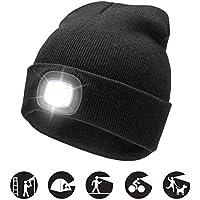 Unisex 4 LED Headlamp Beanie Cap, Winter Warm Beanie Hat Hands Free Lighted Beanie Cap with 3 Brightness Level for Walking at Night, Camping, Dog Walking, Biking