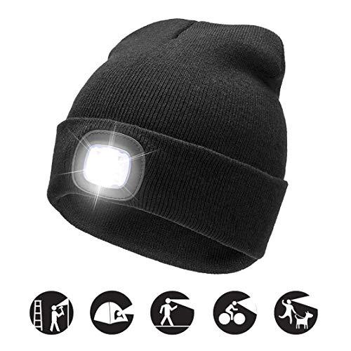 COZONE Cappello Illuminato Nuovo Beige Caldo Luminoso del LED Beanie Unisex Cappello Ricaricabile del Faro Multifunzionale
