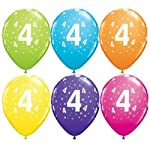 "Age 4 Stars-A-Round 4th Birthday Tropical Assorted 11"" Qualatex Latex Balloons x 10"