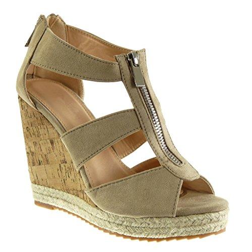 Angkorly Damen Schuhe Espadrilles Sandalen - Plateauschuhe - Seil - Kork - String Tanga Keilabsatz High Heel 11 cm - Camel 628-132 T 38 (Kork Heels)