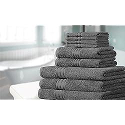 Knightsbridge Juego de 9 toallas 100% algodón egipcio peinado 500g/m2 Gris Carbón (Disponible en varios colores)