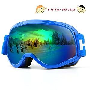 Kasliny Skibrille, Over Glasses Snowboardbrillen für Männer, Frauen, Jugendliche oder Kinder – UV400 Schutz und Anti-Fog – Double Grey Sphärische Linse bequem zum Skaten Skifahren Schneemobile