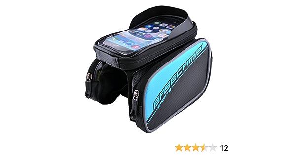 LingsFire® 5,8 Zoll wasserdichtes Gewebe Fahrrad Radfahren Lenkertasche Rahmentaschen , Kopf Schlauchbeutel, Oberrohr Fahrrad Handytasche Halter Steuerrohr Taschen Packung Handy Handyhalterung mit klaren PVC-Schirm Pannier Rohr Satteltasche Doppeltasche für iPhone 6 iPhone 6 Plus 5S/ Galaxy S6/ S6 Edge/ S5/ S4/ S3/ LG G4/ G3 Nexus 5