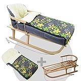 BAMBINIWELT KOMBI-ANGEBOT Holz-Schlitten mit Rückenlehne & Zugseil + universaler Winterfußsack (108cm), auch geeignet für Babyschale, Kinderwagen, Buggy, aus Wolle (grau grün gelbe Blumen)