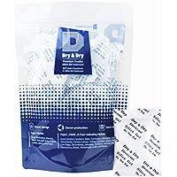 Dry&dry Paquete de 50 unidades de deshumidificadores de gel de sílice, prémium, puro y seguro, 5 gramos, compatible con la FDA