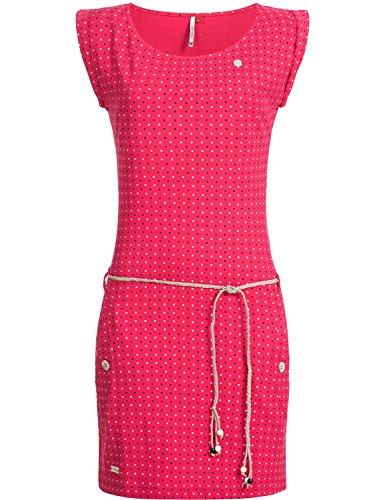 Ragwear Damen Baumwoll Jersey-Kleid Tag Dots Raspberry Gr. L