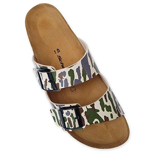 1 Paar Sandalen mit zwei Riemen im Muster camouflage Hausschuhe Pantoffel Pantoletten Camouflage