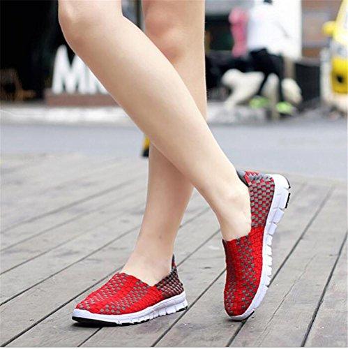 LDMB Damenschuhe Schuhe Handgefertigte Schuhe Sport Freizeitschuhe Lazy Schuhe Schuhe Red
