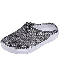 Zapatillas de Playa para Mujeres Sandalias de Malla(37-gris)