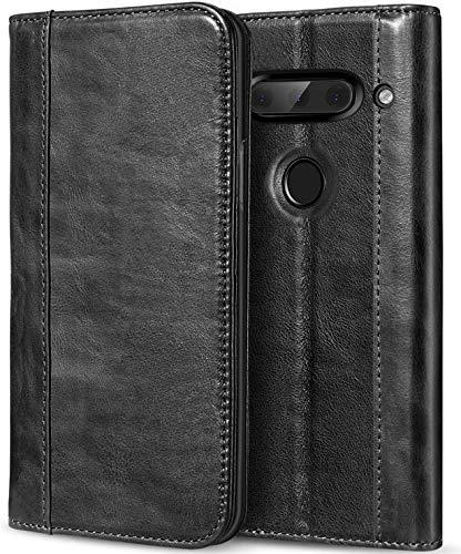 ProCase LG V40 ThinQ Echtes Leder Hülle, ProCase Vintage Geldbörse Falten Flip Case mit Kickstand und mehrere Kartensteckplätze Magnetverschluss Schutzhülle für LG V40 -Schwarz -