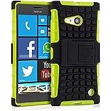 kwmobile Hybrid Outdoor Hülle für Nokia Lumia 730 / 735 mit Ständer - Dual TPU Silikon Hard Case Handy Hard Cover in Grün Schwarz