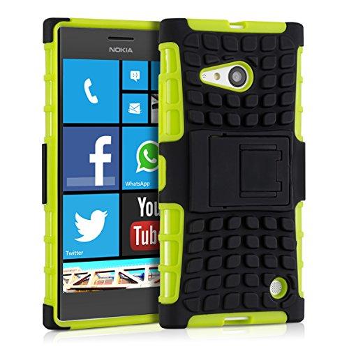 kwmobile Hybrid Outdoor Hülle für Nokia Lumia 730/735 mit Ständer - Dual TPU Silikon Hard Case Handy Hard Cover in Grün Schwarz