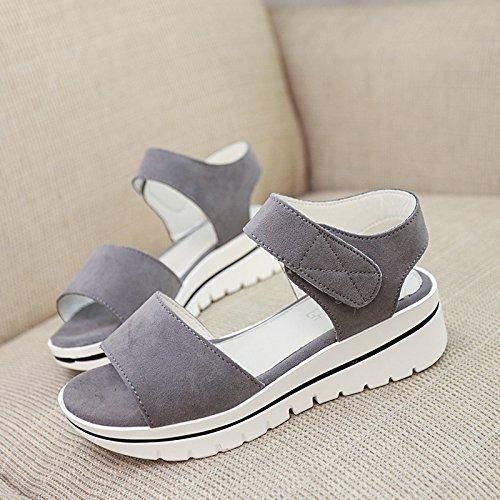 XY&GKFrauen Dicke Sommer Sandalen Sommer Wedges Schuhe 38 deep grey
