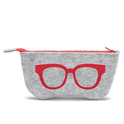 daliuing Weich Gläser Casual tragbar Filz Reißverschluss Multifunktional Brille Tasche für Make-up Tasche Geldbörse Gläser 18.5 * 9CM rot