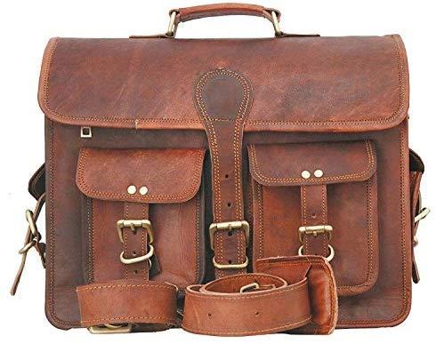 Bandolera de cuero, unisex, diseño vintage, ideal como maletín de negocios o para portátiles y libros, hecha a mano, resistente y gastada, retro y auténtica