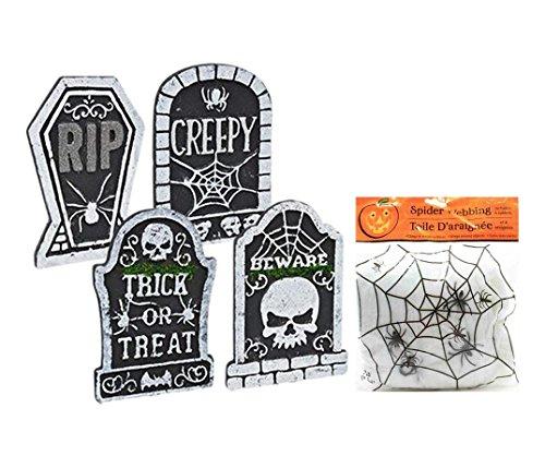 Potomac Banks Set aus 4 Polyfoam Halloween Friedhof Grabsteine mit Spinnennetz (inklusive gratis Anleitung zum Leben) (Dekorationen Hof Halloween-friedhof)