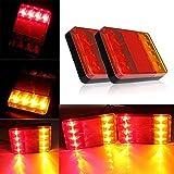 2 x Fanali Posteriori Luci Posizione LED Lampadine Indicatori di Parcheggio 8 LED 12V Impermeabile Universale per Veicolo Rimorchio Caravan Camion Trattore Autocarro.