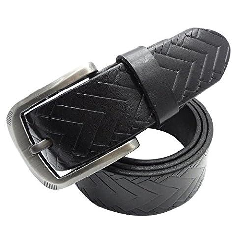 GoGou Fashion Men's Braided Embossed Leather Western Jeans Belt 37MM Wide (Black)