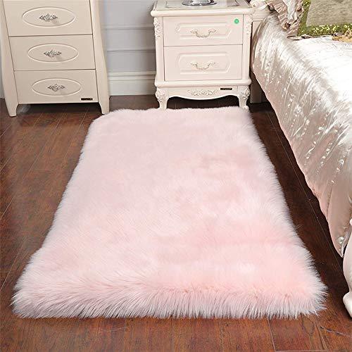 Sweetwill Faux Lammfell Schaffell Teppich 80 x 150 cm Modern Wohnzimmer Teppich Flauschig Lange Haare Fell Optik Gemütliches Schaffell Bettvorleger Sofa Matte (Rosa, 80 x 150 cm)