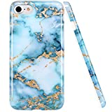 iPhone 7 Case, LUOLNH Blue and gold Marble Design Slim Shockproof Flexible Soft Silicone Rubber TPU Bumper Cover Skin Case for iPhone 7 4.7 inch