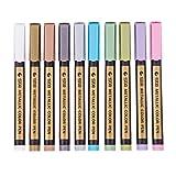 Baoblaze 10 Farben Metallic Marker Pens Metallic Stifte auf irgendeiner Oberfläche-Papier Glas Kunststoff Keramik Töpfer Hochzeit Gästebuch Handwerk für schwarzes Papier