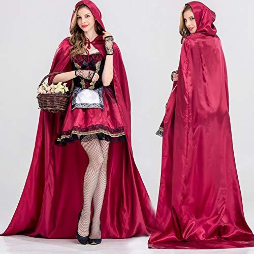 zysymx Vestidos Vintage Party Frauen 3 Stück Kleine Rote Kappe Mit Kapuze Party Abend Festival Kostüm Cosplay Kleid # 809 Farbe-L