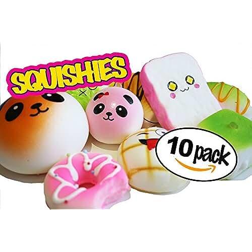 mini kawaii miniaturas kawaii UKQ Squishies - Juego de 10 mini juguetes de Kawaii para pasteles, pan de donuts y pan de piña, juguetes para aliviar el estrés de color crema, juguete para niños